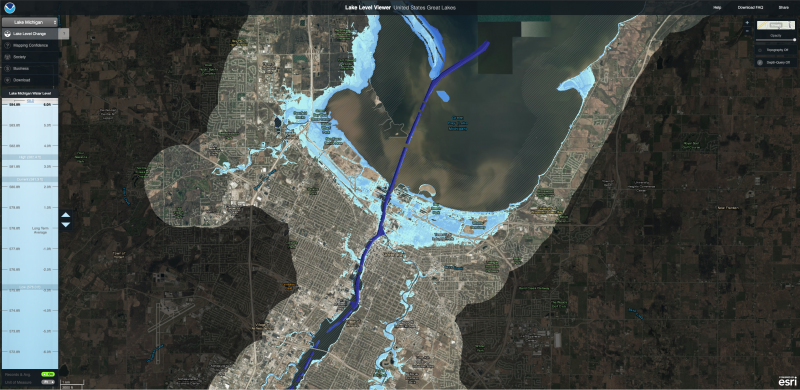 Map showing the extent of 6-foot water levels at Green Bay, Wisconsin