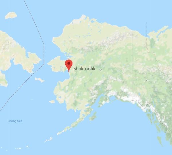 locator map for Shaktoolik, Alaska