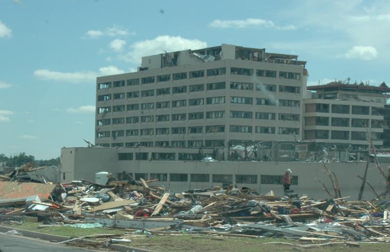 Tornado-damaged St. John's Medical Center, Joplin, Missouri