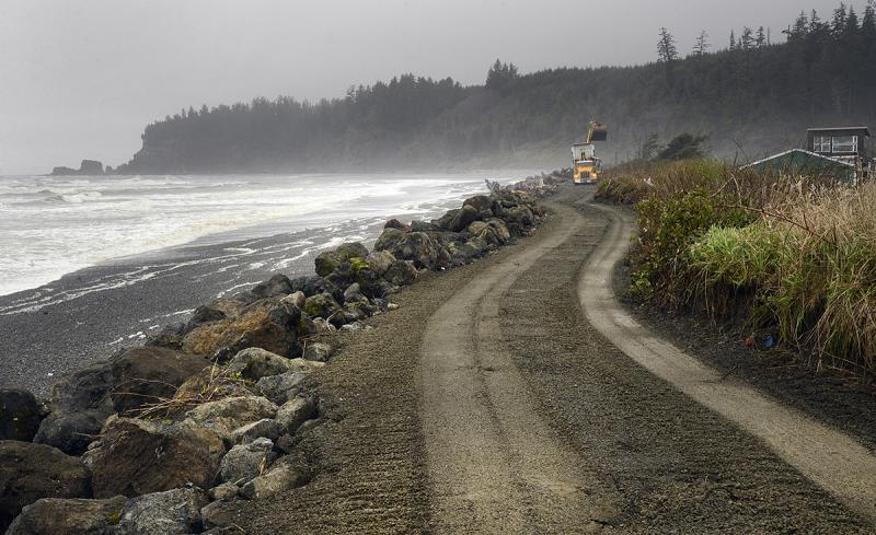 Repairing the seawall that protects the village of Taholah on Quinault Indian Nation lands