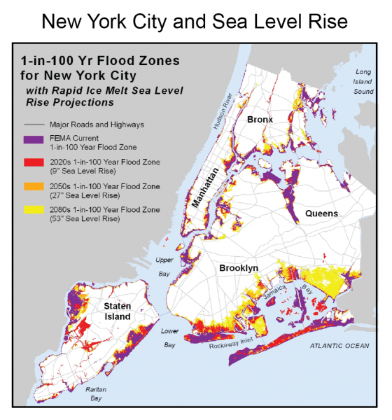 Map Showing New York City and Sea Level Rise