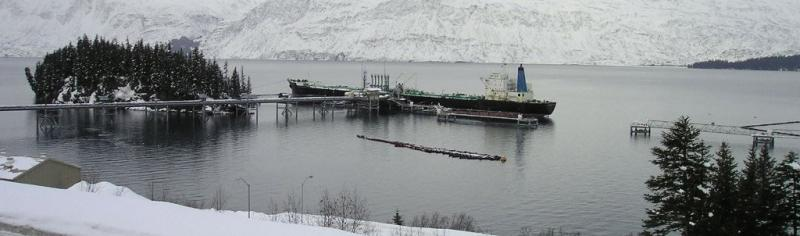 Photo of a tanker being loaded with crude oil