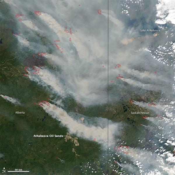 Satellite view of wildfires