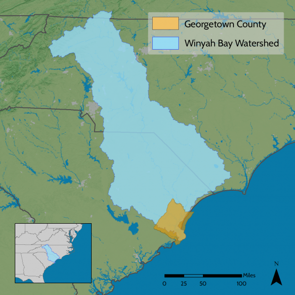 Map showing the locations of the Winyah Bay Watershed and Georgetown County, South Carolina