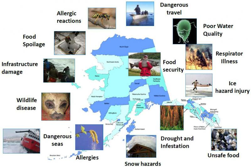 Graphic depicting the health effects of climate change in Alaska