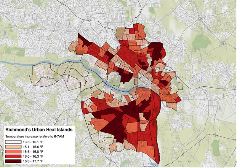 Richmond Urban Heat Vulnerability Map U S Climate Resilience Toolkit