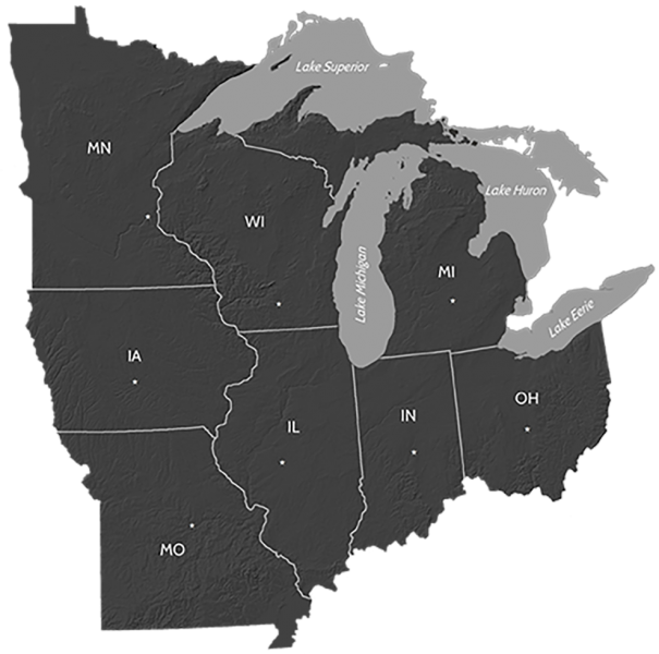 Map of the Midwest region of the United States