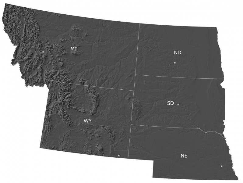 Grey-shaded map displaying the states of the Northern Great Plains region: Montana, Nebraska, North Dakota, South Dakota, and Wyoming