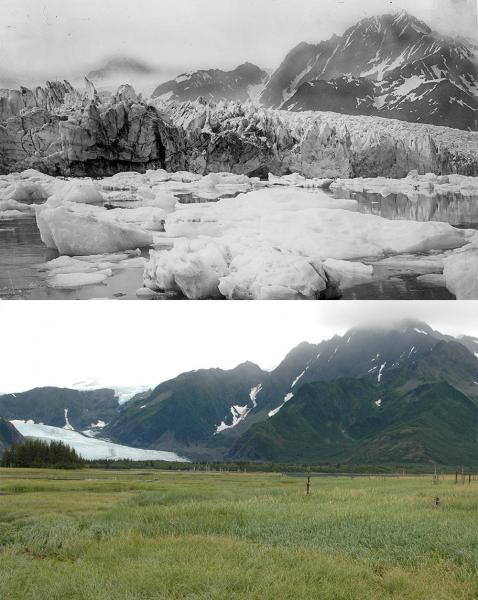 Mountains with abundant ice on top. Same mountains with grassy filed on bottom.