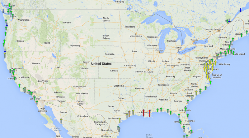 Sea level rise us climate resilience toolkit map showing regional trends in sea level gumiabroncs Gallery