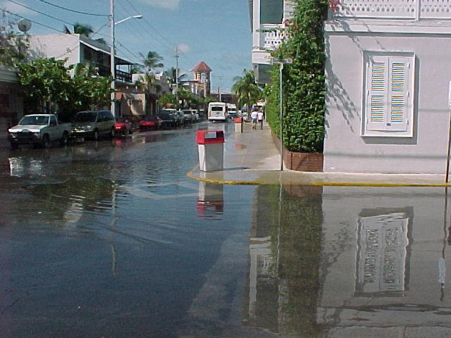 Photo of downtown intersection inundated with seawater