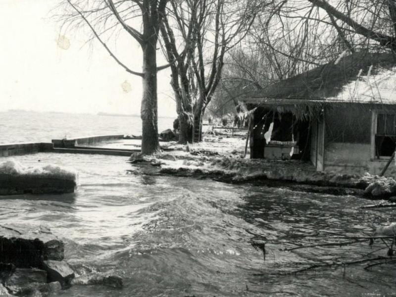 A storm surge sweeps into Green Bay, Wisconsin