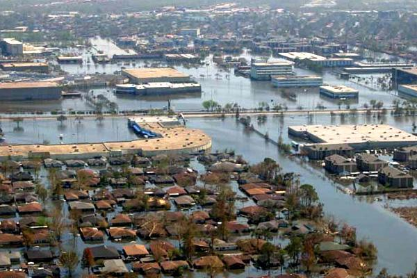 Aerial view of inundation from storm surge