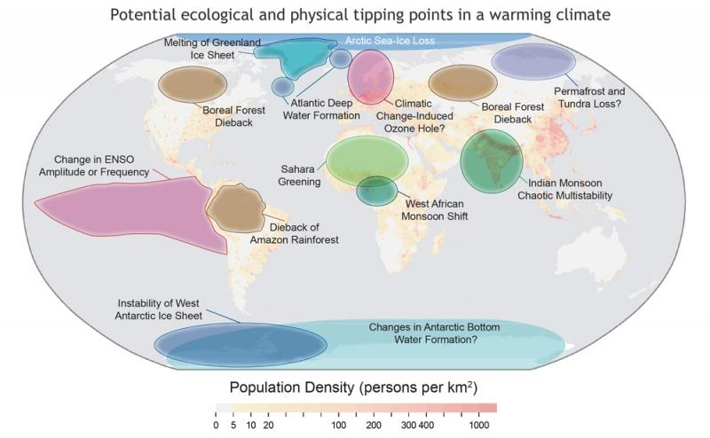 Map showing potential tipping points that may be reached if warming continues.