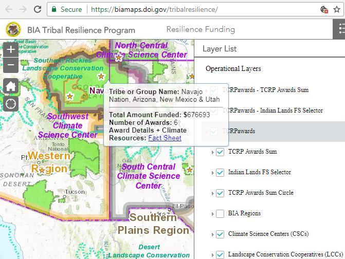 Screen capture from the Tribal Resilience Mapping Application