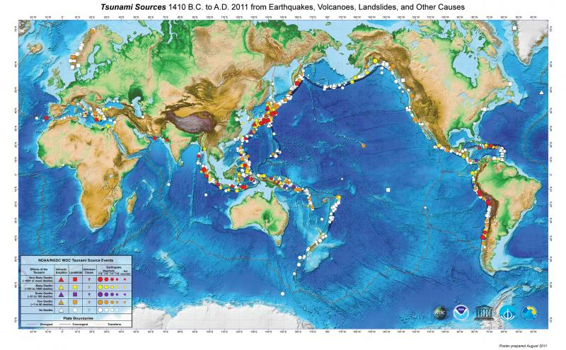 Map Showing Tsunami Sources 1410 B.C. to A.D. 2011