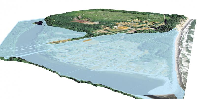 Visualization of the effects of tsunami or sea level rise on the village of Taholah