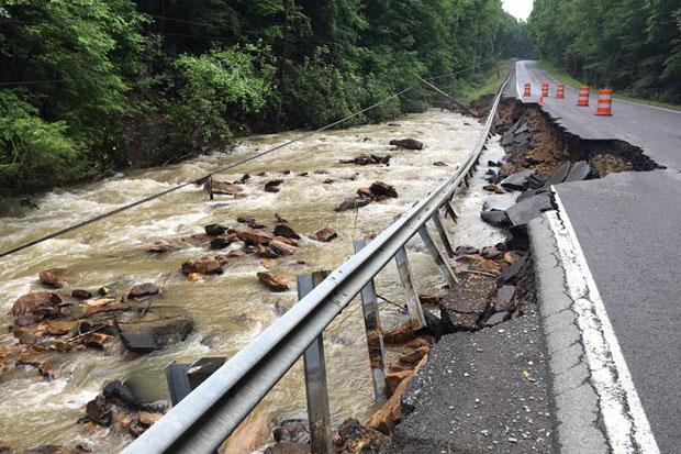 Road washout on WV Highway 60