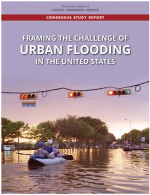 Cover of report with people in boat on a flooded street.