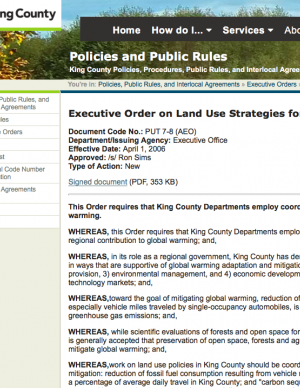 Screen capture of the Executive Order on the King County website