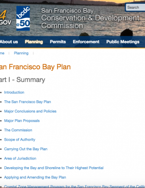 Screen capture of the San Francisco Bay Plan website