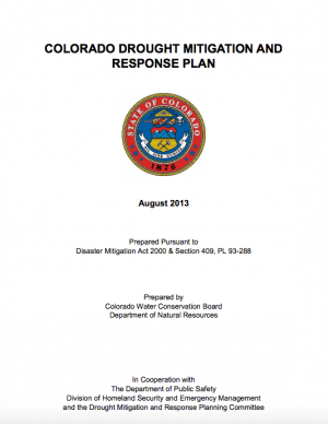 Cover of the Colorado Drought Mitigation and Response Plan