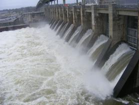 Photo of water being released from hydropower dam