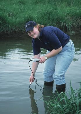 Photo of volunteer testing water quality.