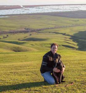 Photo of Julian Meisler with dog