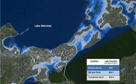 Map of projected lake levels and inundataion for Lake Mendota