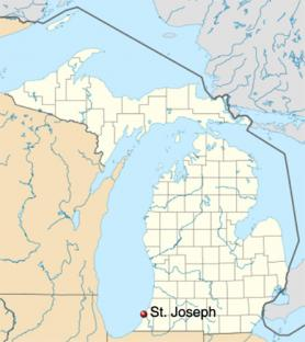 Map of Michigan showing the location of St. Joseph on the SE shore of Lake Michigan