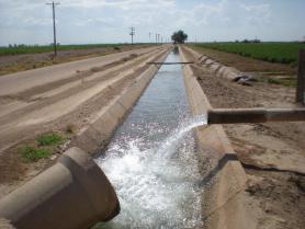 Irrigation canal and valve outside Phoenix, AZ.