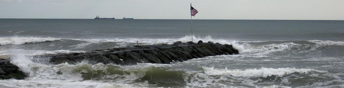 A rock groyne at Atlantic Beach, New York.