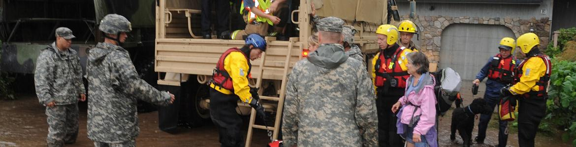 Colorado National Guardsmen respond to floods in Boulder County, Colorado, on September 12, 2013