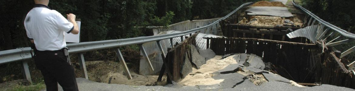 Photo of washed out bridge