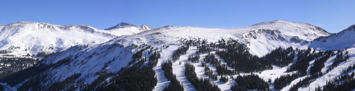 View of Loveland Ski Area from above the Eisenhower Tunnel in Colorado.