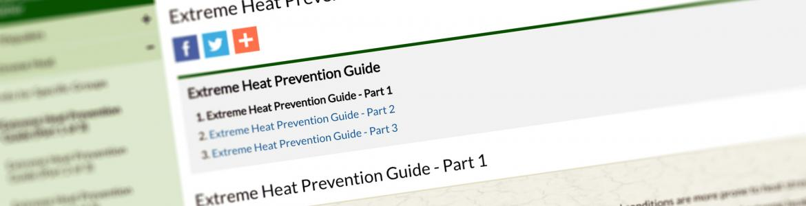 Screen capture from the Extreme Heat Prevention Guide website