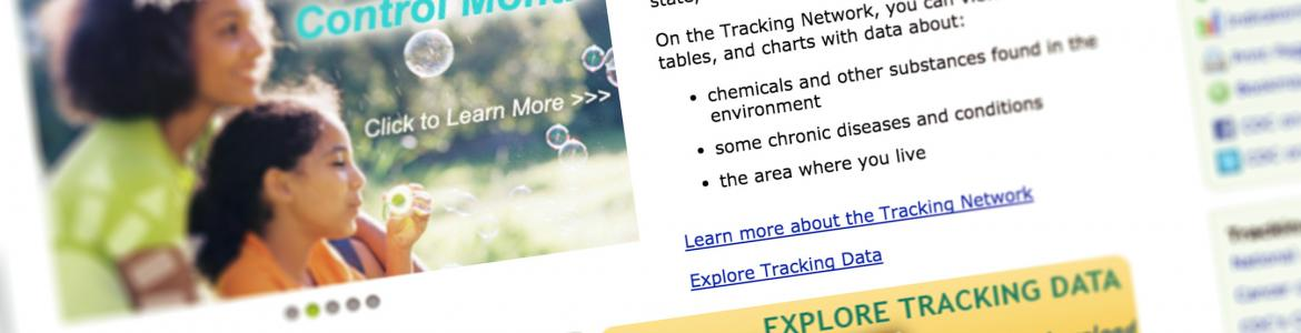 Screen capture from the National Environmental Public Health Tracking Network website