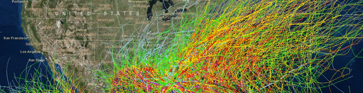 Screen capture from the Historical Hurricane Tracks tool