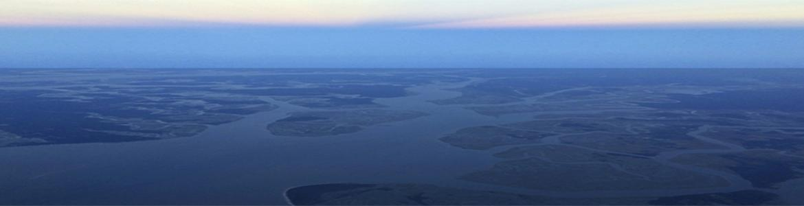 Aerial photo of northern Beaufort County's low-lying sea islands.