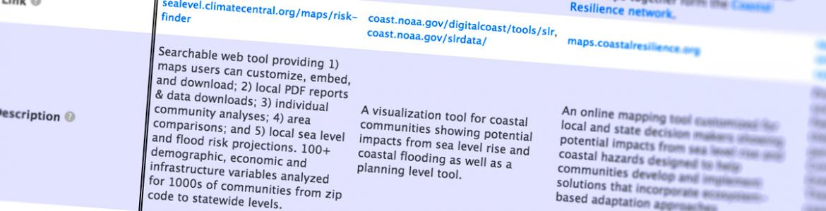 Screen capture from Sea Level Rise and Coastal Flood Web Tools Comparison Matrix