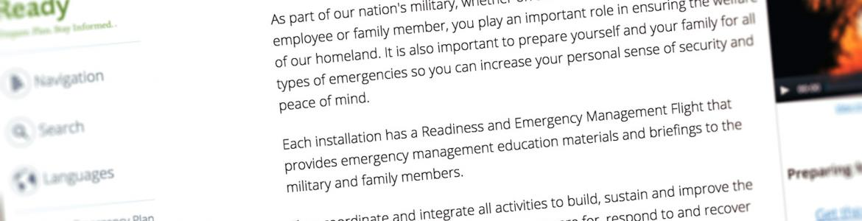 Screen capture of the Ready.gov Military Family Preparedness webpage