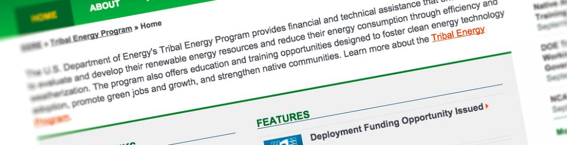 Screen capture from the Tribal Energy Program website